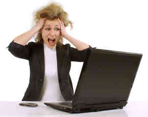 Image of stressed woman at work